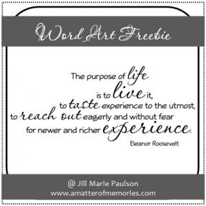 WORD ART: Purpose of Life Quote Freebie