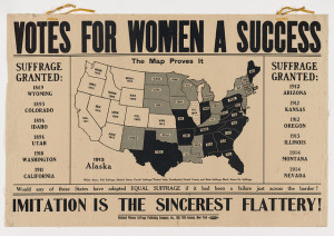 Historical posters show the arguments for women's suffrage