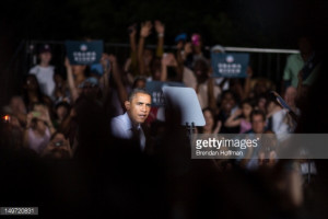 News Photo President Barack Obama holds a campaign rally at