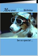 32nd Birthday Wishes, Dog with Sunglasses and Hat, Humorous, Funny ...