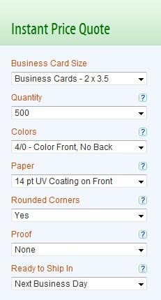 Sample Business Card Options Menu