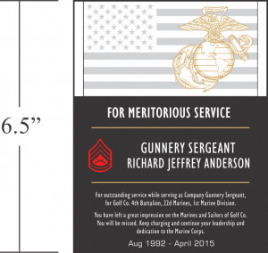 Marine Corps Going Away Plaques