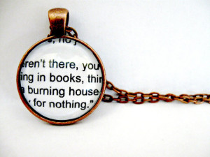 Fahrenheit 451 Quotes Book Page Necklace Book Necklace Book Pendant ...