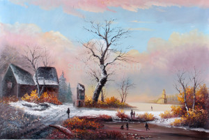free shipping wall decor painting winter scenery oil painting canvas