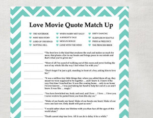 ... Movie Quotes, Bridal Shower Games, Love Quotes, Instant Download
