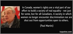 In Canada, women's rights are a vital part of our effort to build a ...