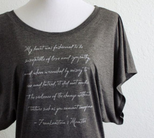 Frankenstein's Monster Literary Top- Mary Shelley Quote- Women's Flowy ...