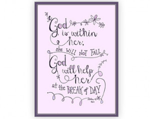 Psalm 46:5 Religious Quote, God is Within Her, Girls Bible Verse Art ...