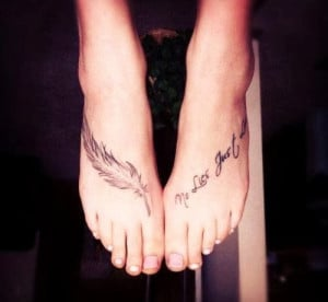 Foot Quote Tattoos for Girls - Feather Cute Foot Quote Tattoos ...
