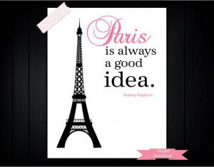 ChristmasInJuly Sale Audrey Hepburn quote: Paris PDF Digital Download ...