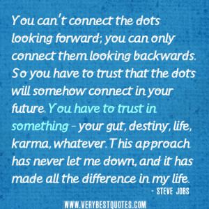 So yes todays quote is about the future, trust yourself, the decisions ...