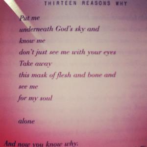 13 Reasons Why. Hannah Baker's poem