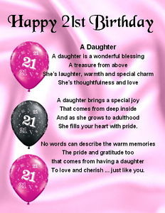 ... Magnet - Personalised - Daughter Poem - 21st Birthday + FREE GIFT BOX