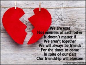 Cute friendship quote from ex-boyfriend to ex-girlfriend after breakup