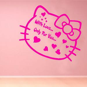 Hello Kitty Love Kids Quote Wall Sticker Art Decoration Bedroom Girls ...