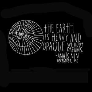 The earth is heavy and opaque without dreams.