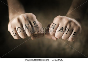 stock-photo-man-with-fake-love-and-hate-tattoos-on-his-hands-97592429 ...