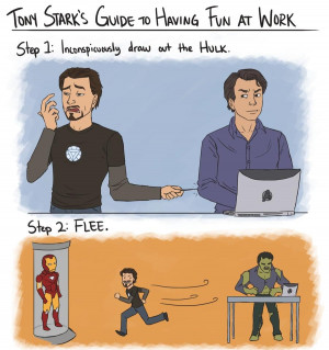 ... bruce banner Tony Stark's Guide to Having Fun at Work the avengers