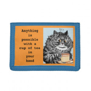 Vintage Louis Wain Teacup Cat Quote Wallet