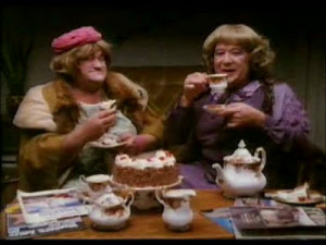 Good heavens - it's Ada and Cissie scoffing a magnificent fresh cream ...
