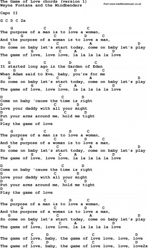 Song lyrics with guitar chords for The Game Of Love - Wayne
