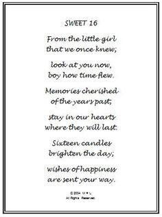 happy sweet sixteen birthday poem | 16th Birthday Wishes Gift Frame ...
