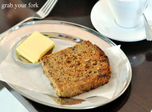 Zucchini and walnut bread served with unsalted butter $4.50