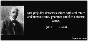 Race prejudice decreases values both real estate and human; crime ...