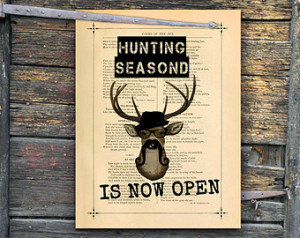 stag art deer art print deer season sign buck poster man cave giclee ...