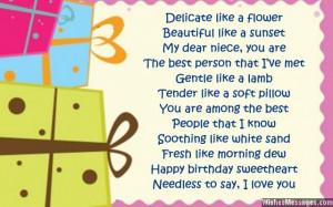 Sweet birthday card poem for niece