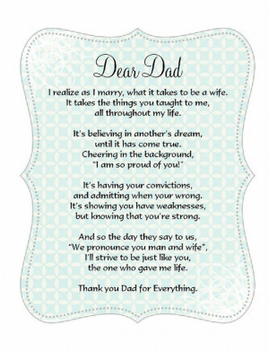 father of the bride poem