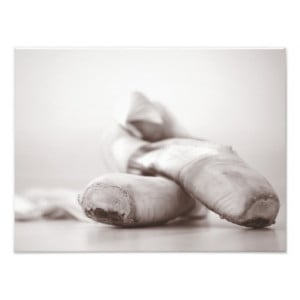 Ballet Pointe Shoes on Dance Floor Template Art Photo
