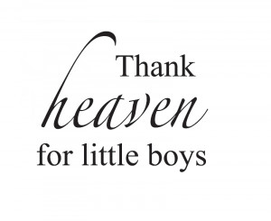 Wall Quote Decal Sticker Vinyl Art Thank Heaven for Little Boys Girl's ...
