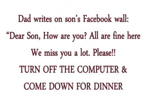 Dad Writes On Son's Facebook Wall