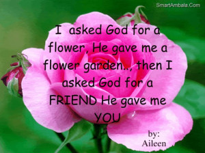 ... Flower Garden,then I Asked God for a Friend He Gave Me You ~ God Quote