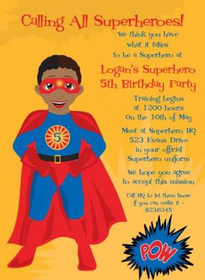 Super Hero African American Birthday Invitations
