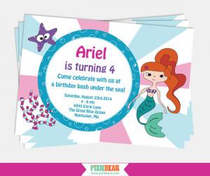 Mermaid Birthday Invitation - Mermaid Party Invitation - Under the Sea ...