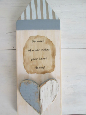 Primitive wood wall art quote hanging recycled rustic chippy heart ...