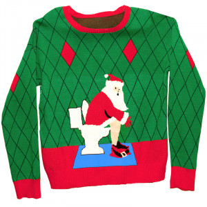 ... Clothing & Accessory > Ugly Christmas Sweater in a Box: Toilet Santa