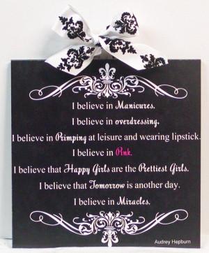 Audrey Hepburn Quote I Believe In Pink #2 Fleur de Lis & Damask Wall ...