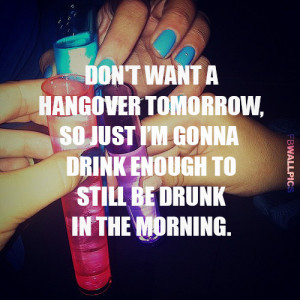 Dont Want Hangover Drinking Party Quote Picture