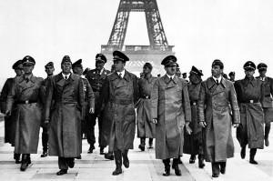 Adolf Hitler and entourage in 1940 tour Paris.