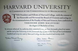 Ted Kaczynski Harvard