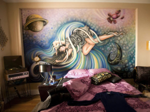 The painting above Jane's bed in her side of the apartment. Notice how ...