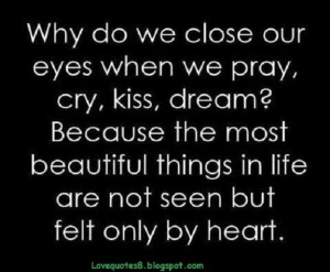 ... most beautiful things in life are not seen but felt only by heart love