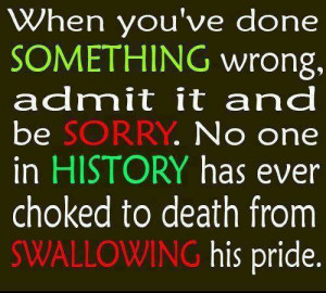 When you've done something wrong, admit it and be sorry. no one in ...
