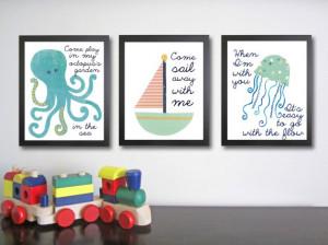 Nursery Art - Children's Quotes - Nautical Children's Decor, (3) 11 x ...