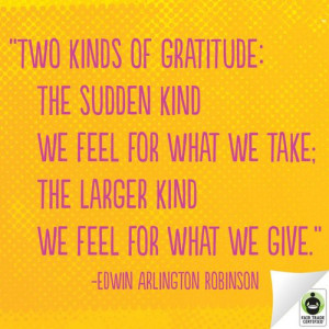 ... the larger kind we feel for what we give.