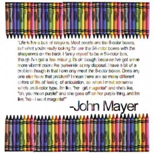 John Mayer and crayons