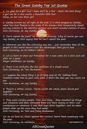 The Great Gatsby Top 10 Best Quotes